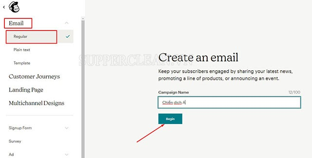 tạo chiến dịch gửi mail